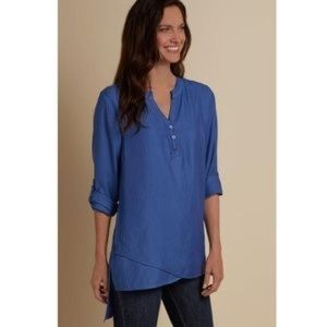 Soft Surroundings | In The Study Blue Tunic Shirt